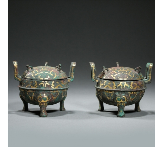 New Castle Art & Antique GalleryPAIR OF CHINESE GOLD INLAID BRONZE LIDDED TRIPLE FEET CENSER HAND DYNASTY