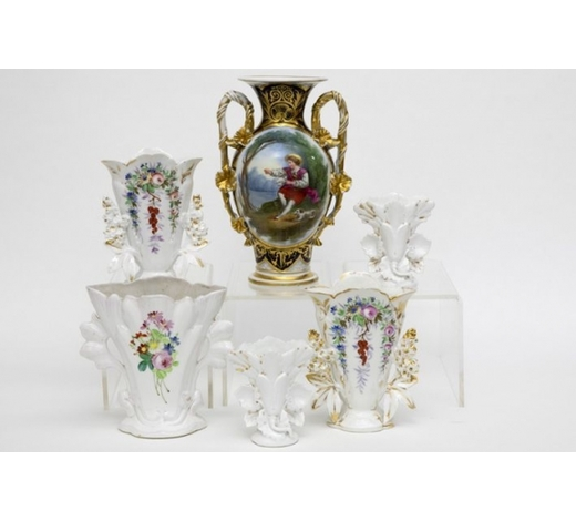 DVCsix small antique vases in porcelain from Brussels