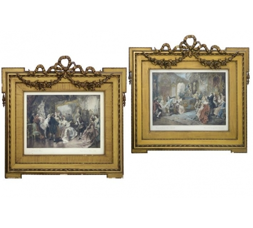 DVCpendant of two prints each in a quite large neoclassical, guilded frame