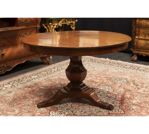 DVCantique English table in mahogany - with a round top with its two extensions