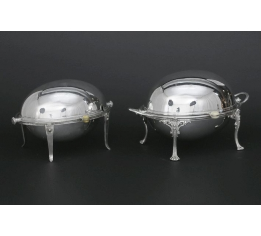 DVC2 oval silverplated breakfast dishes (with its stove and cover)