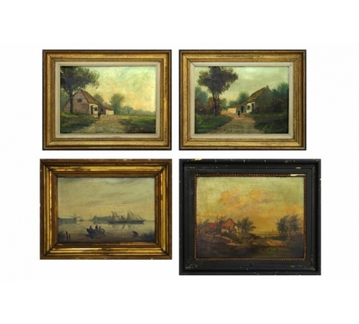 DVCfour paintings with a pendant of two oil on canvas and an 19th Cent. oil on canvas