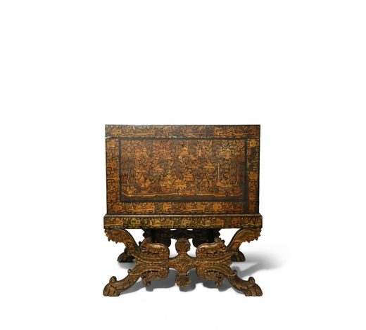 Woolley & WallisA LARGE INDO-EUROPEAN CHINOISERIE BLACK AND GOLD LACQUER RECTANGULAR CHEST AND STAND 19TH CENTURY