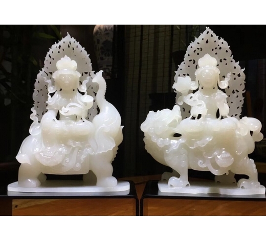 Empire Auction HousePAIR HETIAN WHITE JADE CARVED BUDDHA FIGURES