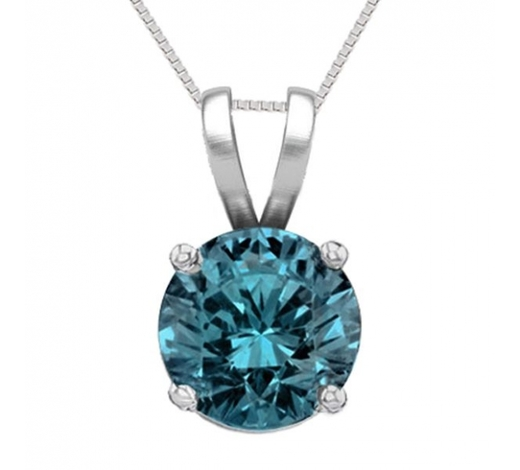 World Jewelry Auctions14K White Gold 1.03 ct Blue Diamond Solitaire Necklace - REF-186X8F-WJ13323