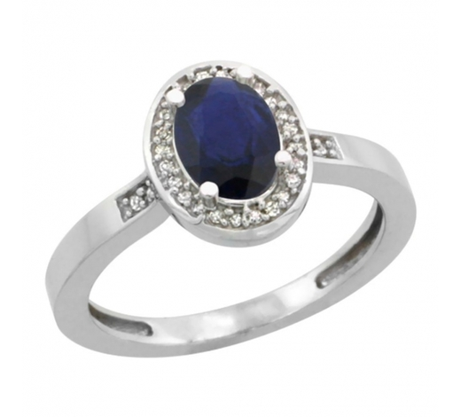 World Jewelry AuctionsNatural 1.08 ctw Blue-sapphire & Diamond Engagement Ring 10K White Gold - REF-28M5H