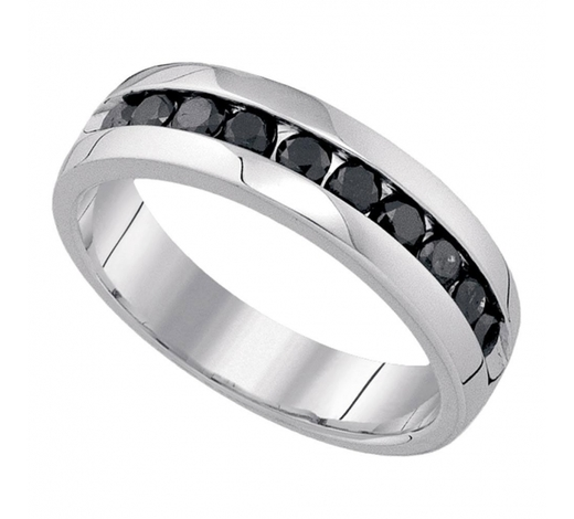 World Jewelry Auctions1.02 CTW Mens Black Color Diamond Fashion Ring 10KT White Gold - REF-75N2F