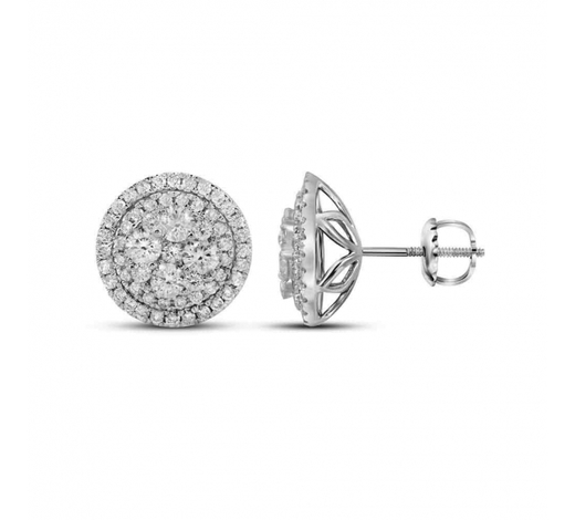 World Jewelry Auctions1.68 CTW Diamond Flower Cluster Earrings 14KT White Gold - REF-179H9M