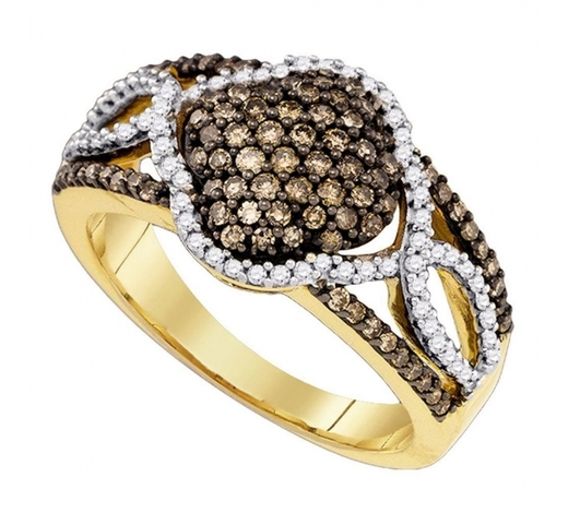 World Jewelry Auctions0.68 CTW Cognac-brown Color Diamond Cluster Ring 10KT Yellow Gold - REF-44X9Y
