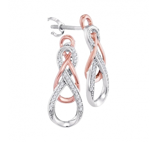 World Jewelry Auctions0.12 CTW Diamond Double Linked Rose-tone Infinity Earrings 10KT White Gold - REF-24K2W