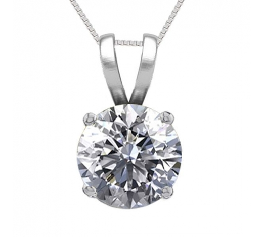 World Jewelry Auctions14K White Gold 1.05 ct Natural Diamond Solitaire Necklace - REF-286A8V-WJ13291