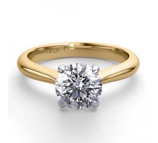 World Jewelry Auctions18K 2Tone Gold 1.36 ctw Natural Diamond Solitaire Ring - REF-423G2K-WJ13254