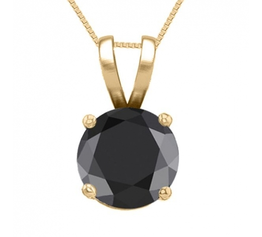 World Jewelry Auctions14K Yellow Gold 0.52 ct Black Diamond Solitaire Necklace - REF-42Y2X-WJ13308