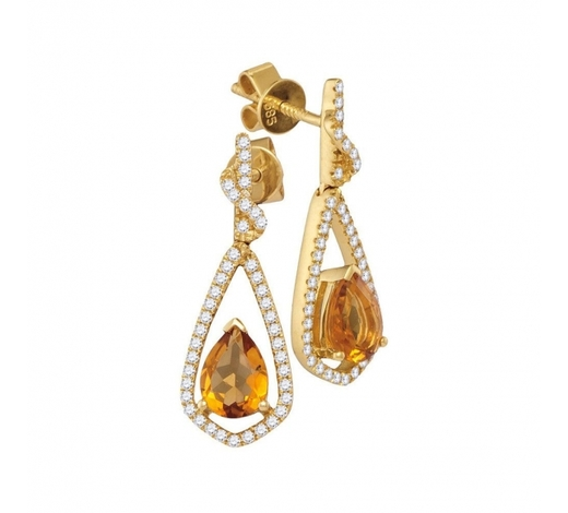 World Jewelry Auctions1.59 CTW Pear Natural Citrine Diamond Dangle Earrings 14KT Yellow Gold - REF-89M9H