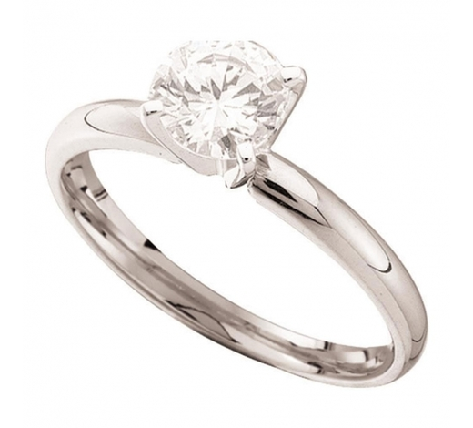 World Jewelry Auctions0.15 CTW Diamond Solitaire Bridal Engagement Ring 14KT White Gold - REF-19X4Y