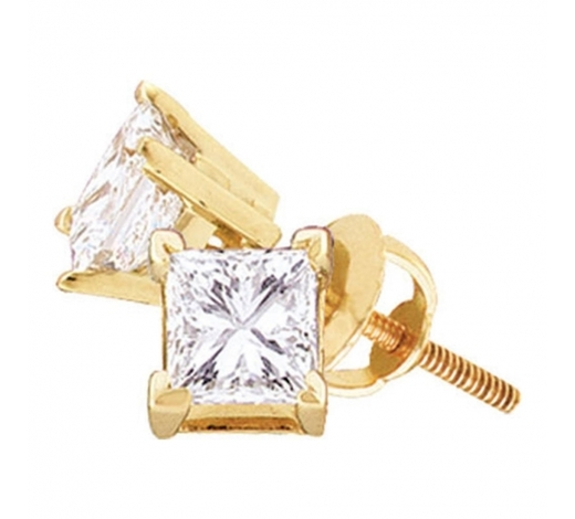 World Jewelry Auctions0.49 CTW Princess Diamond Solitaire Stud Earrings 14KT Yellow Gold - REF-63X8Y