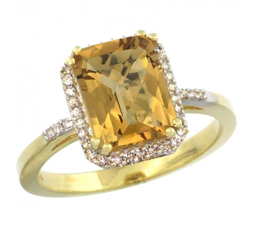 World Jewelry AuctionsNatural 2.63 ctw Whisky-quartz & Diamond Engagement Ring 10K Yellow Gold - REF-31G9M