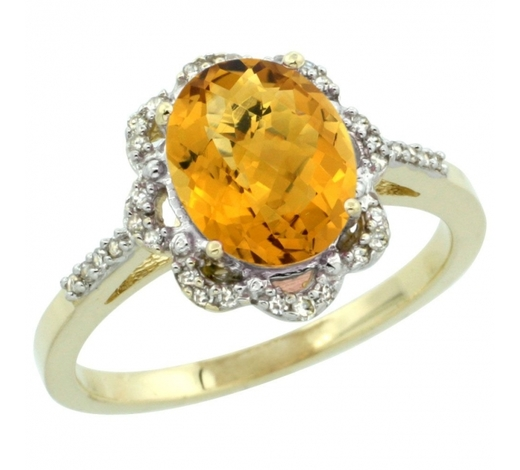 World Jewelry AuctionsNatural 1.85 ctw Whisky-quartz & Diamond Engagement Ring 14K Yellow Gold - REF-38H3W