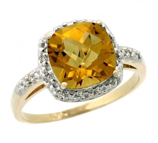 World Jewelry AuctionsNatural 3.92 ctw Whisky-quartz & Diamond Engagement Ring 14K Yellow Gold - REF-33Y6X