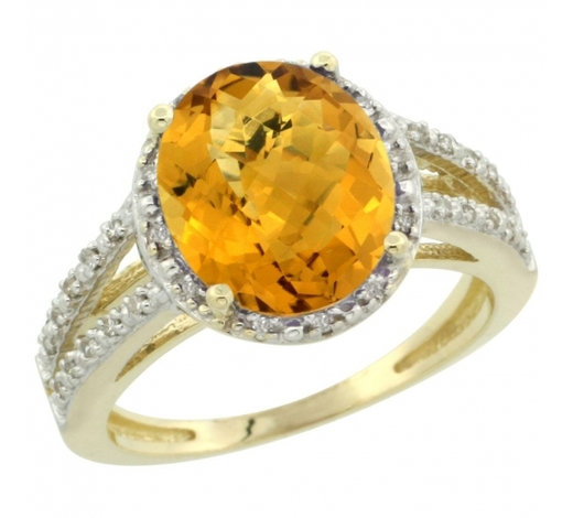 World Jewelry AuctionsNatural 3.47 ctw Whisky-quartz & Diamond Engagement Ring 10K Yellow Gold - REF-33Y6X