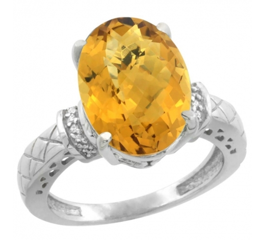 World Jewelry AuctionsNatural 5.53 ctw Whisky-quartz & Diamond Engagement Ring 10K White Gold - REF-42K3R