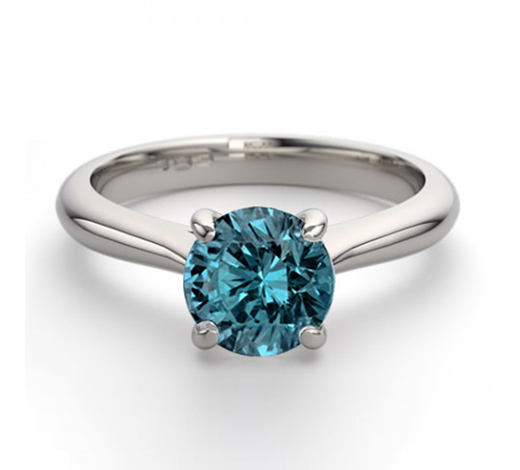 World Jewelry Auctions14K White Gold 0.91 ctw Blue Diamond Solitaire Ring - REF-163R2M-WJ13234