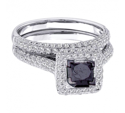 World Jewelry Auctions1.25 CTW Princess Black Color Diamond Bridal Ring 14KT White Gold - REF-85K4W