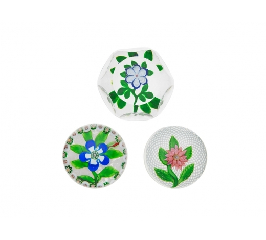 Bonhams EnglandTwo Baccarat flower paperweights and a St. Louis double-clematis weight, circa 1850