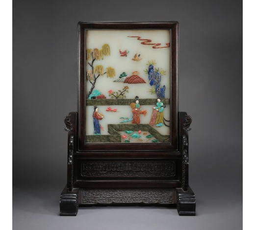 New Castle Art & Antique GalleryCHINESE GEM STONE INLAID JADE PLAQUE HARDWOOD TABLE SCREEN