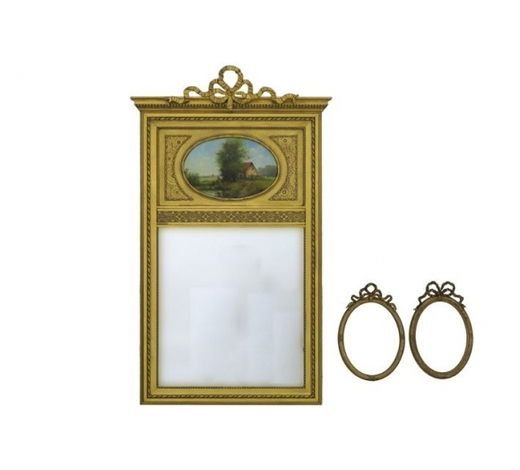 DVCneoclassical mirror with a guided frame with an oval painting & a pair of oval neoclassical frames