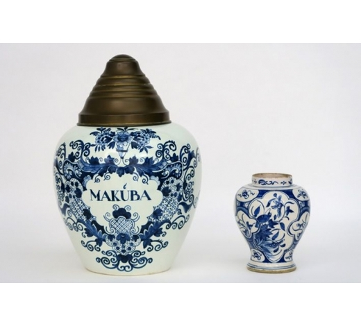 DVC2 pieces of marked earthenware from Delft : a tobacco jar and a small 18th Cent. vase