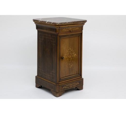 DVC19t Cent. Charles X-period bedside table in marquetry with its marble top