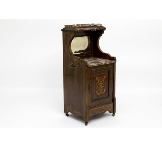 DVC19th Cent. Victorian bedside cabinet in rose-wood with a panel in marquetry