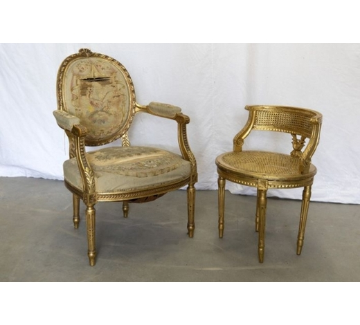 DVCtwo guilded chairs : a small settee and an antique armchair