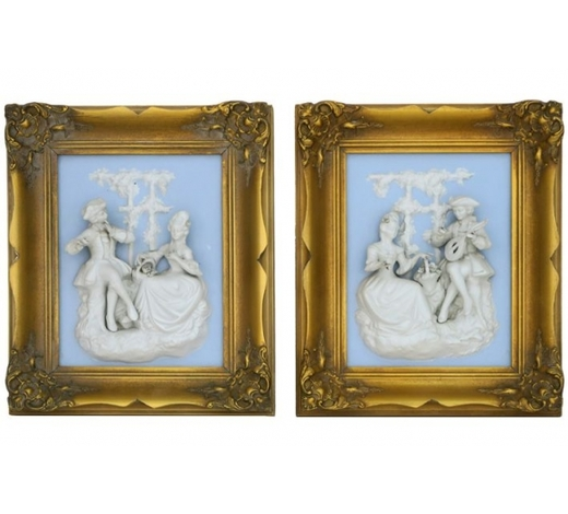 DVCpair of framed basreliefs in porcelain (biscuit)