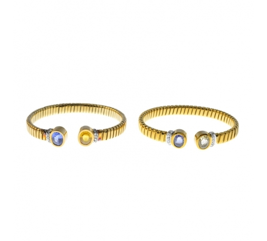 FellowsTwo sapphire and diamond bangles