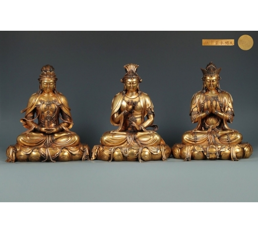 Empire Auction HouseTHREE GILT BRONZE SITTING BUDDHA STATUES
