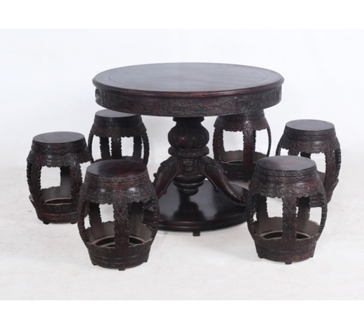 Empire Auction HouseSET ZITAN WOOD CARVED TABLE AND CHAIRS