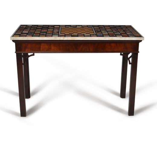 DreweattsA mahogany and specimen marble mounted side or console table, of Grand Tour interest, the table Geor
