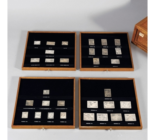 搜挖会纯银制历届奥运会邮票一盒31枚