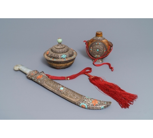 Rob Michiels AuctionsA Tibetan inlaid silver sword with jade hilt, a covered bowl and a flask, 19th C.