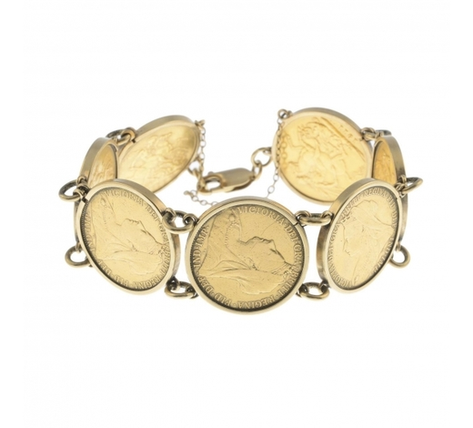 FellowsA coin bracelet. Designed as a series of seven late Victorian and early 20th century full Sovereigns, with 9ct gold mounts, to the lobster clasp. Five mounts with hallmarks for 9ct gold. Length 20cms. Total weight 65.2gms.
