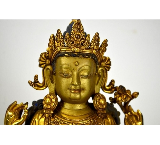 The Popular Auction, LLCChinese Gilt Bronze Standing Buddha Figure Ming Chinese gilt bronze stand Buddha figure with engraved Chinese characters mark. 14