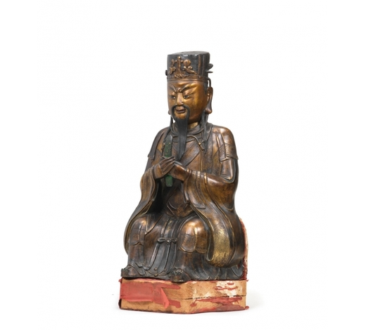 Bonhams EnglandA large and rare gilt-bronze figure of Wenchang Wang