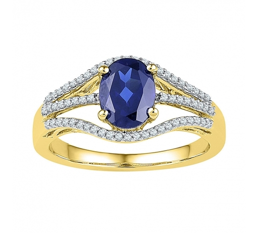 World Jewelry Auctions1.8 CTW Oval Created Blue Sapphire Solitaire Diamond Ring 10KT Yellow Gold - REF-25H4M