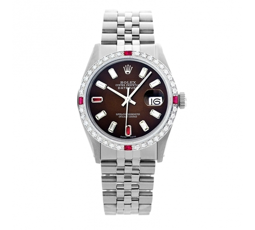 World Jewelry AuctionsRolex Pre-owned 36mm Mens Brown Dial Stainless Steel - REF-610X3K