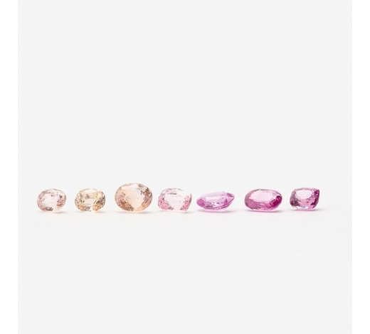 AAGA collection of seven Padparascha and natural pink sapphires