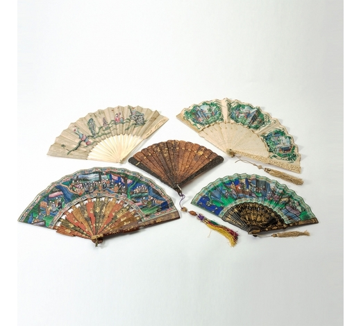 AAGFour Chinese Cantonese folding fans and a fan