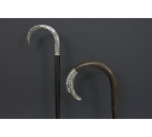 DVCtwo antique walking stick with grip in marked silver, one with bird's head