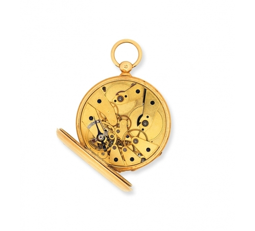 Bonhams EnglandA continental gold key wind open face pocket watch with independent centre seconds